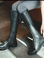 cheap -Women's Boots Block Heel Round Toe Crotch High Boots Daily PU Solid Colored Black