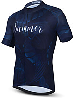 cheap -21Grams Men's Short Sleeve Cycling Jersey Summer Spandex Polyester Blue Funny Bike Top Mountain Bike MTB Road Bike Cycling Quick Dry Moisture Wicking Breathable Sports Clothing Apparel / Stretchy