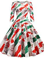 cheap -Women's A Line Dress Knee Length Dress Green Black Red 3/4 Length Sleeve Cat Animal Bow Print Fall Winter Round Neck Casual Vintage Christmas Regular Fit 2021 S M L XL XXL