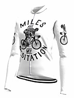 cheap -21Grams Women's Long Sleeve Cycling Jersey Spandex Polyester White Floral Botanical Funny Bike Top Mountain Bike MTB Road Bike Cycling Quick Dry Moisture Wicking Breathable Sports Clothing Apparel