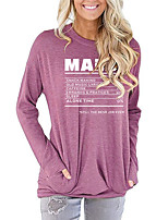 cheap -Women's Painting T shirt Graphic Letter Long Sleeve Print Round Neck Basic Vintage Tops Regular Fit Cotton Blushing Pink Green Light gray