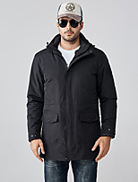 cheap -Men's Hiking Down Jacket Hiking 3-in-1 Jackets Ski Jacket Winter Outdoor Thermal Warm Windproof Quick Dry Lightweight Outerwear Winter Jacket Trench Coat Skiing Ski / Snowboard Fishing Black (male