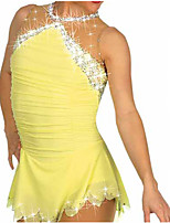 cheap -Figure Skating Dress Women's Girls' Ice Skating Dress Yellow Open Back Patchwork Spandex Stretch Yarn High Elasticity Training Competition Skating Wear Handmade Solid Colored Crystal / Rhinestone