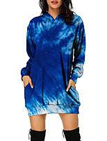 cheap -Women's Pullover Hoodie Sweatshirt Gradient Tie Dye Print Casual Daily 3D Print Basic Streetwear Hoodies Sweatshirts  Blue Purple Rainbow