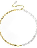 cheap -baroque pearl choker necklace for women and girls 14k gold plated twisted rope chain necklace handmade necklace (gold)