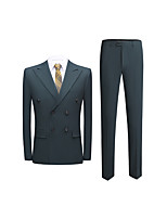 cheap -Men's Special Occasion Suits 2 pcs Peak Standard Fit Double Breasted Four-buttons Straight Flapped Solid Colored Polyester