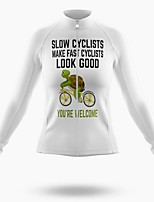 cheap -21Grams Women's Long Sleeve Cycling Jersey Spandex Polyester White Cartoon Funny Animal Bike Top Mountain Bike MTB Road Bike Cycling Quick Dry Moisture Wicking Breathable Sports Clothing Apparel