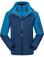 cheap -Men's Hiking 3-in-1 Jackets Ski Jacket Hiking Fleece Jacket Polar Fleece Winter Outdoor Thermal Warm Windproof Quick Dry Lightweight Hoodie Windbreaker Trench Coat Skiing Ski / Snowboard Fishing Blue