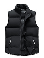 cheap -Men's Vest Sport Daily Fall Winter Regular Coat Stand Collar Loose Thermal Warm Windproof Lightweight Breathable Sporty Jacket Sleeveless Solid Color Print Blue Black Beige