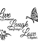 cheap -3 pieces inspirational wall stickers acrylic mirror wall sticker live every moment, laugh every day, love beyond words text sticker decal art family stickers