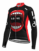 cheap -21Grams Women's Long Sleeve Cycling Jersey Spandex Polyester Red 3D Funny Bike Top Mountain Bike MTB Road Bike Cycling Quick Dry Moisture Wicking Breathable Sports Clothing Apparel / Stretchy