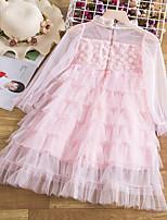 cheap -Kids Little Girls' Dress Solid Colored A Line Dress Mesh Yellow Blushing Pink Green Above Knee Long Sleeve Princess Cute Dresses Fall Regular Fit 3-10 Years