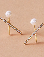 cheap -Women's Earrings Crossover Stylish Simple Vintage Classic Korean Imitation Pearl Earrings Jewelry Gold For Wedding Gift Prom Beach Festival 1 Pair