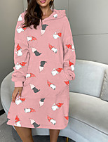 cheap -Women's Loose Maxi long Dress Blushing Pink White Red Long Sleeve Print Modern Style Fall Winter Round Neck Casual 2021 One-Size