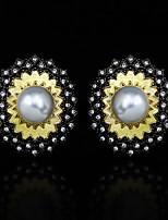 cheap -Women's Pearl Earrings Vintage Style Petal Fashion Vintage European Gypsy Earrings Jewelry Gold For Halloween Party Evening Street Festival 1 Pair