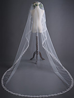 cheap -One-tier Classic Style / Flower Style Wedding Veil Chapel Veils with Embroidery 118.11 in (300cm) Tulle