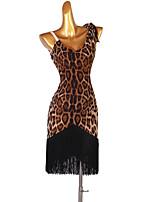 cheap -Latin Dance Dress Tassel Women's Performance Daily Wear Sleeveless Spandex