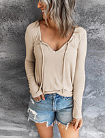 cheap -Women's T shirt Plain Long Sleeve V Neck Basic Tops Blue Wine Khaki