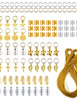 cheap -120 Pieces Hair Jewelry Rings Aluminum Hair Accessories Hair Rings and Cuffs Decorations Pendants with 100m Metallic Cord