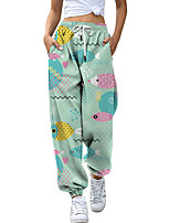 cheap -Women's Fashion Athleisure Breathable Sports Pants Sweatpants Loose Casual Daily Pants Animal Full Length Elastic Drawstring Design Print Grass Green