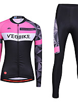 cheap -Women's Long Sleeve Cycling Jersey with Tights Summer Spandex Pink / Black Bike Quick Dry Sports Geometic Mountain Bike MTB Road Bike Cycling Clothing Apparel / Stretchy / Athletic / Athleisure