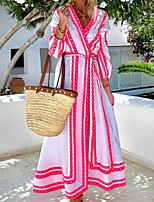 cheap -Women's A Line Dress Maxi long Dress Blue Purple Red 3/4 Length Sleeve Print Print Fall V Neck Casual 2021 S M L XL