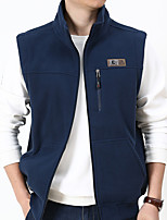 cheap -Men's Vest Daily Fall Winter Regular Coat Regular Fit Thermal Warm Sporty Jacket Sleeveless Solid Color Quilted Blue Gray Black