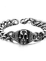 cheap -Men's Bracelet Geometrical Skull Punk Titanium Steel Bracelet Jewelry Silver For Halloween Street Daily Festival