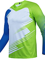 cheap -21Grams Men's Long Sleeve Cycling Jersey Spandex Green Color Block 3D Bike Top Mountain Bike MTB Road Bike Cycling Quick Dry Moisture Wicking Sports Clothing Apparel / Stretchy / Athleisure