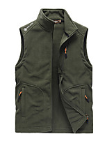 cheap -Men's Vest Gilet Street Daily Going out Fall Winter Regular Coat Zipper Stand Collar Regular Fit Warm Breathable Casual Jacket Sleeveless Solid Color Full Zip Pocket Dark Grey Army Green Black