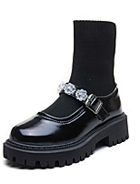 cheap -Women's Boots Chunky Heel Round Toe Booties Ankle Boots Daily PU Elastic Fabric Rhinestone Buckle Solid Colored Black / Booties / Ankle Boots