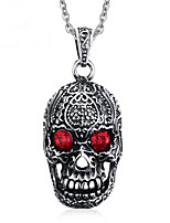 cheap -Pendant Necklace Men's Geometrical Synthetic Ruby Titanium Steel Skull Vintage Cool Silver 60 cm Necklace Jewelry 1pc for Halloween Street Daily Festival Geometric