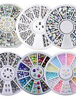 cheap -6 Packs/set Box Mix Sizes 3D AB Rhinestone Crystal Glitter Bead Pearl Wheel Nail Art Tips Jewelry Decoration DIY Manicure Accessories Tool