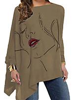 cheap -Women's T Shirt Dress Tee Dress Short Mini Dress Blue Gray Brown Long Sleeve Print Print Fall Round Neck Casual 2021 XL XXL 3XL 4XL 5XL
