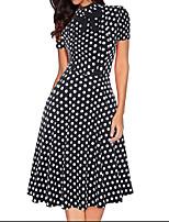 cheap -Women's A Line Dress Knee Length Dress Black Short Sleeve Polka Dot Print Fall Turtleneck Casual 2021 S M L XL XXL