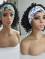 cheap -Wigs with Headbands Attached Short Curly Wigs for Black Women The Daily Wig 12 Inchs Dark Brown