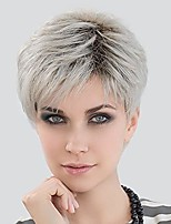 cheap -short blonde wigs for women natural layered synthetic old lady wig with bangs (brown roots)