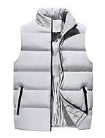 cheap -Men's Gilet Sport Daily Winter Regular Coat Zipper Stand Collar Regular Fit Warm Sporty Jacket Sleeveless Solid Color Pocket Blue Light Grey Black / Lined