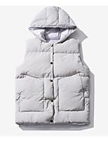 cheap -Men's Vest Daily Fall Winter Regular Coat Regular Fit Thermal Warm Casual Jacket Sleeveless Solid Color Rivet Gray White Black
