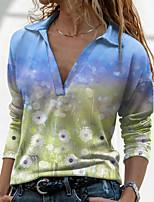 cheap -Women's Holiday Floral Theme Painting Blouse Shirt Graphic Dandelion Long Sleeve Print Shirt Collar Basic Tops Regular Fit Blue / 3D Print