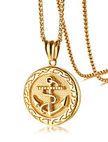 cheap -Pendant Necklace Men's Geometrical Stainless Steel Anchor Fashion Cool Gold 60 cm Necklace Jewelry 1pc for Street Daily Carnival Festival Geometric