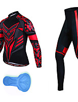 cheap -21Grams Men's Long Sleeve Cycling Jersey with Tights Spandex Black / Red Camo / Camouflage Bike Quick Dry Moisture Wicking Sports Geometric Mountain Bike MTB Road Bike Cycling Clothing Apparel