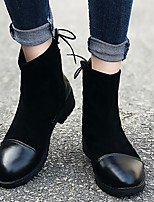 cheap -Women's Boots Block Heel Round Toe Booties Ankle Boots Daily PU Lace-up Solid Colored Black