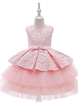 cheap -Kids Little Girls' Dress Jacquard Party Special Occasion Yellow Blushing Pink Wine Above Knee Sleeveless Princess Cute Dresses Children's Day Slim 3-10 Years