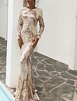 cheap -Mermaid / Trumpet Glittering Sparkle Party Wear Formal Evening Dress Jewel Neck Long Sleeve Floor Length Sequined with Sequin 2021