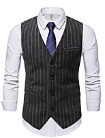 cheap -Men's Vest Gilet Daily Going out Fall Spring Short Coat Single Breasted V Neck Regular Fit Breathable Casual Jacket Sleeveless Striped Pocket Dark Gray Coffee