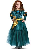cheap -Movie / TV Theme Costumes Dress Kid's Girls' Color Block Halloween Halloween Halloween Children's Day Masquerade Festival / Holiday Terylene Blue Easy Carnival Costumes Romantic 3D Cartoon