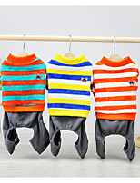 cheap -Dog Cat Sweatshirt Stripes Solid Colored Stripes Dailywear Casual / Daily Dog Clothes Puppy Clothes Dog Outfits Warm Blue Costume for Girl and Boy Dog Padded Fabric