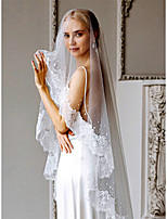 cheap -One-tier Cute / Sweet Wedding Veil Chapel Veils with Beading / Solid Tulle
