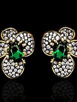 cheap -Women's Green AAA Cubic Zirconia Earrings Oval Cut Flower Petal Statement Elegant Rustic Fashion European Earrings Jewelry Black / Gold For Party Halloween Gift Stage Club 1 Pair